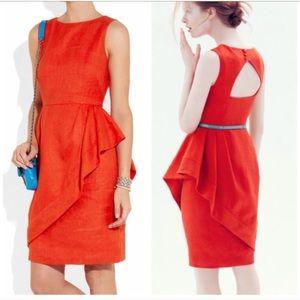 J.Crew Linen Cha Cha Peplum Dress Poppy Red Size 6